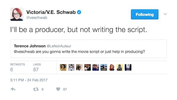 V.E. Schwab Tweet