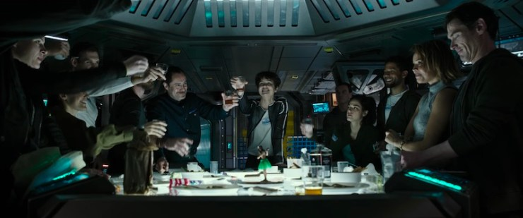 Alien: Covenant prologue last supper toast Michael Fassbender Katherine Waterston James Franco Billy Crudup