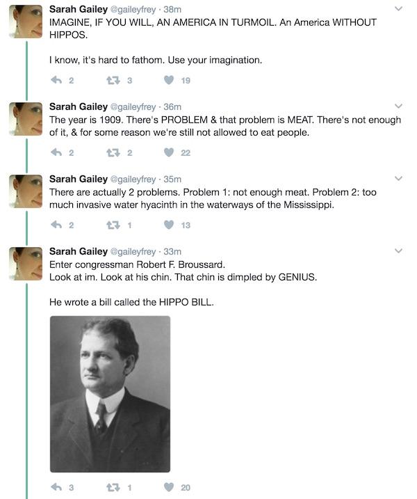 Sarah Gailey tweets about hippos
