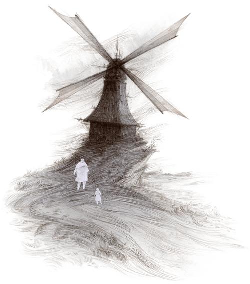 Rovina Cai Down Among the Sticks and Bones illustration windmill