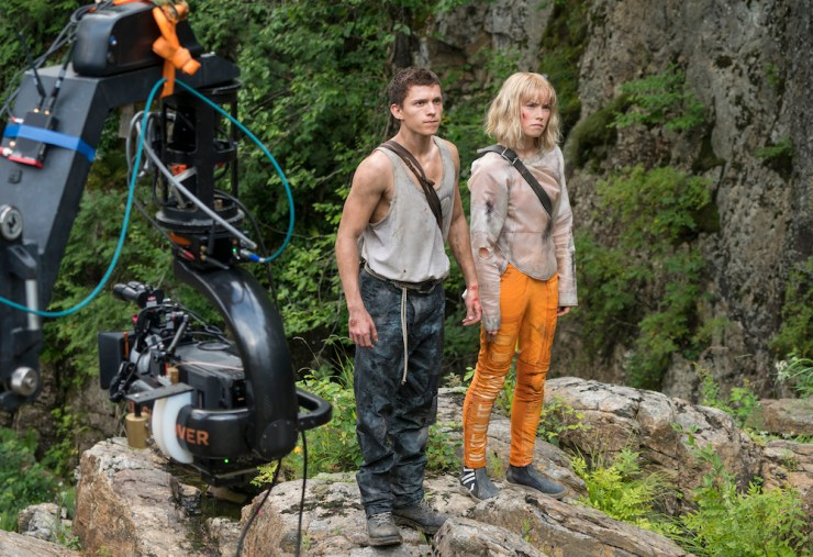 Chaos Walking set photo adaptation Tom Holland Daisy Ridley Patrick Ness