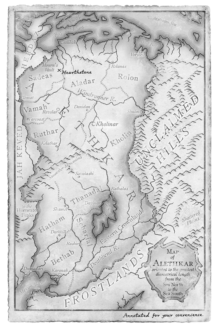 Oathbringer map of Alethkar Brandon Sanderson