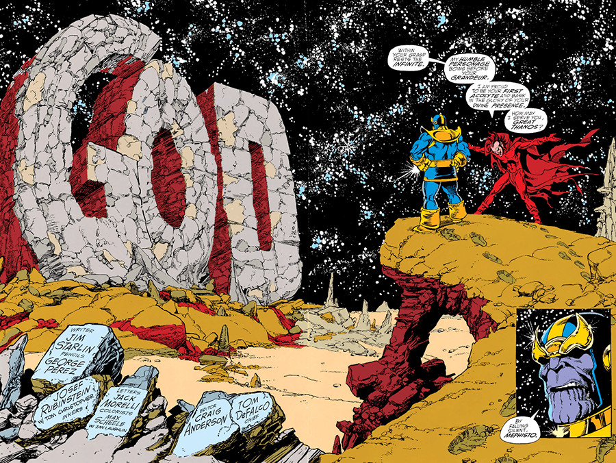 Infinity Gauntlet Will Eisner style GOD letters