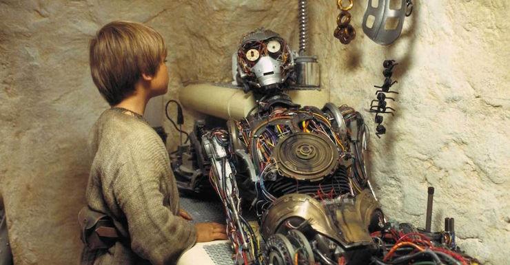 Anakin and C3P0 in Star Wars: The Phantom Menace