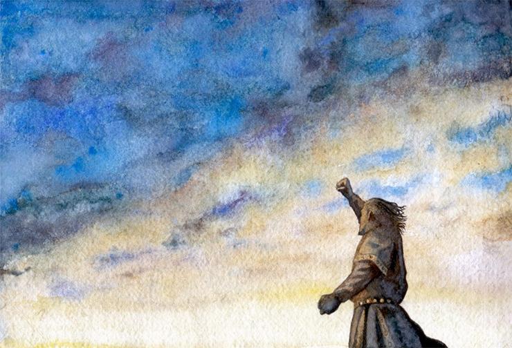 Old Man Shakes Fist At Cloud