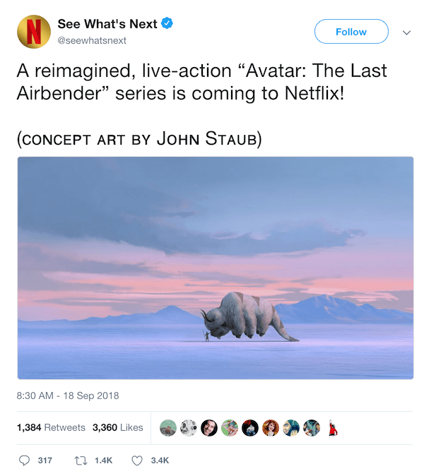 Avatar: The Last Airbender live-action announcement, twitter