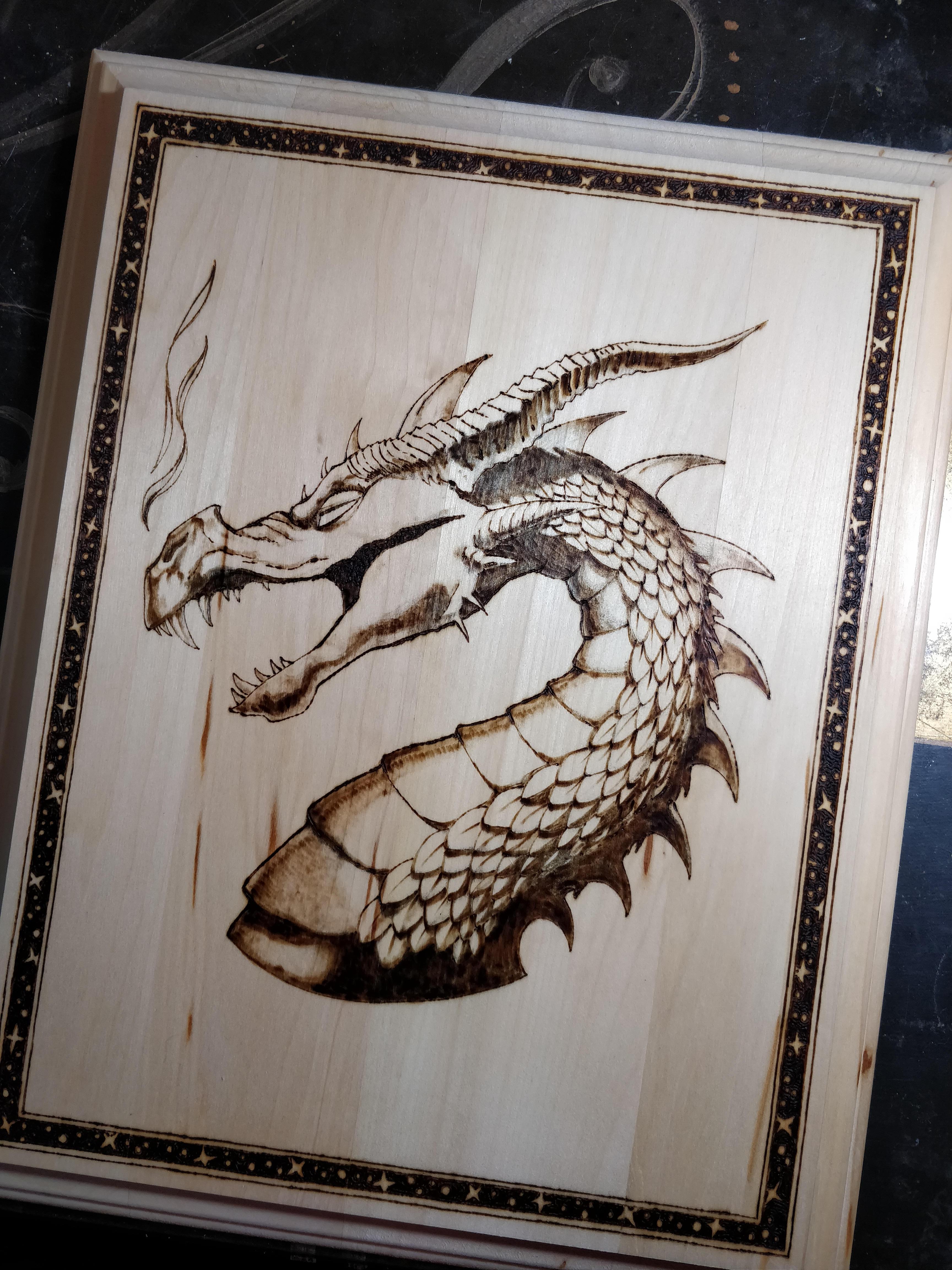 Jenn Lyons pyrography dragon