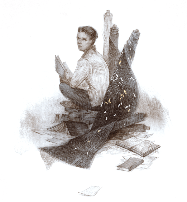 Illustration of Kade from Every Heart is a Doorway