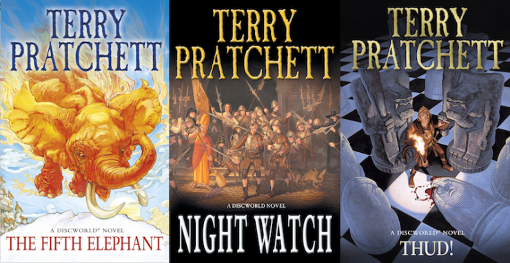 Discworld covers, The Fifth Elephant, Thud, The Night Watch, Terry Pratchett