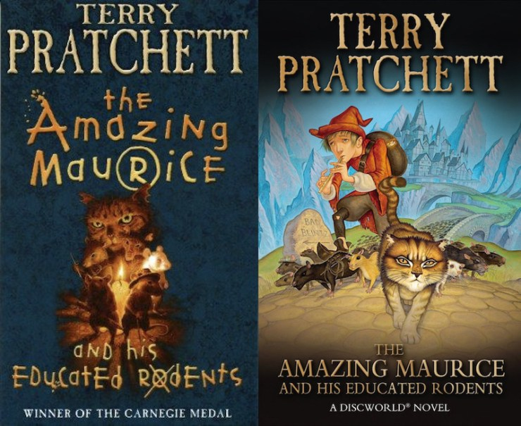 Terry Pratchett, The Amazing Maurice and His Educated Rodents, covers