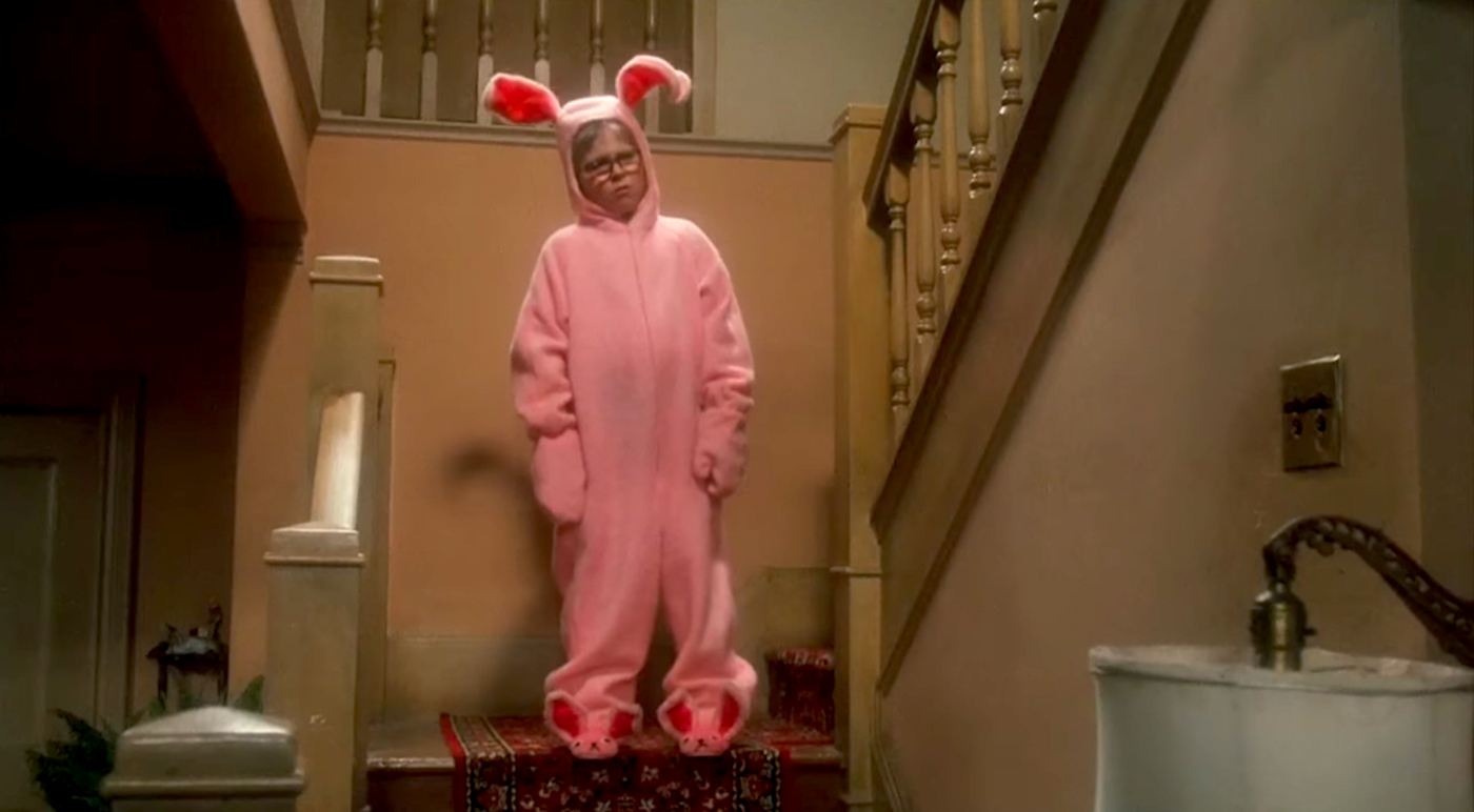 A Christmas Story Ralphie in pink bunny costume