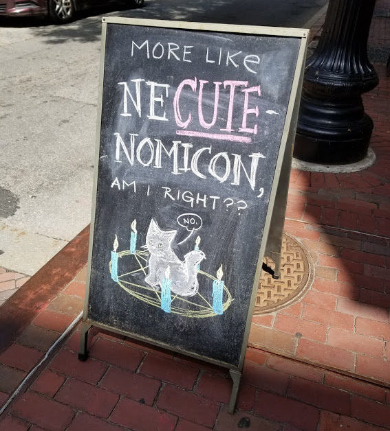 """A chalkboard easel on a sidewalk, proclaiming """"More like Ne-CUTE-nomicon, am I right??"""" There's a kitten in a summoning circle saying, """"No."""""""