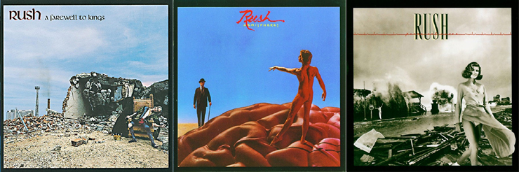 Album covers for A Farewell to Kings, Hemispheres, and Permanent Waves by Rush