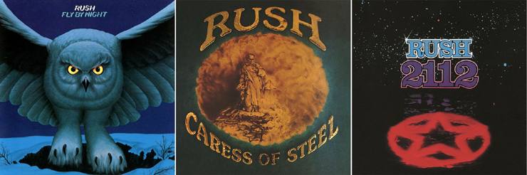 Album covers for Fly By Night, Caress of Steel, and 2112 by Rush