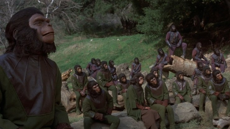 Ape council in Battle of the Planet of the Apes