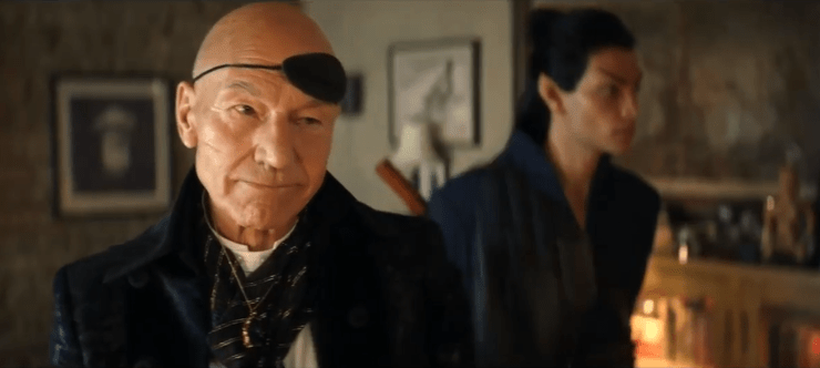 Jean-Luc Picard (Patrick Stewart) and Elnor (Evan Evagora) in Star Trek: Picard