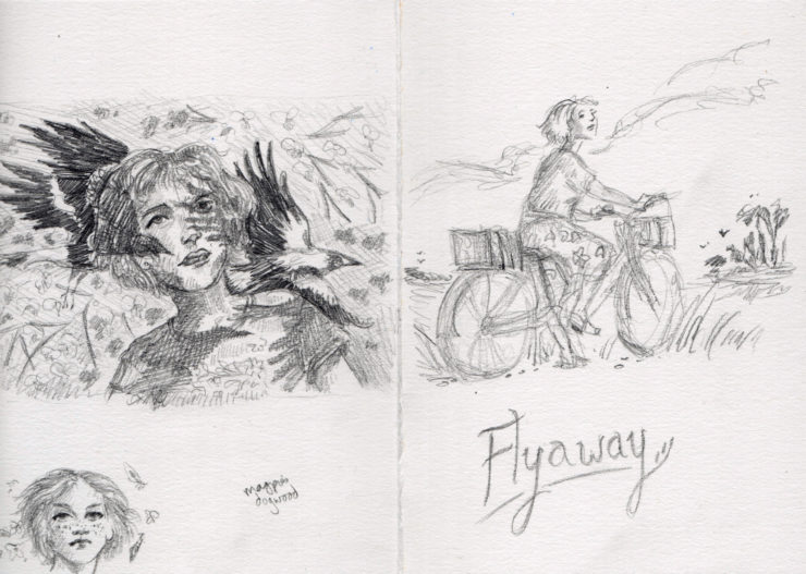 Early story sketches for Flyaway by Kathleen Jennings