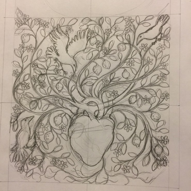 Pencil sketch of a floral and fruit-decorated heart for the cover of Flyaway by Kathleen Jennings