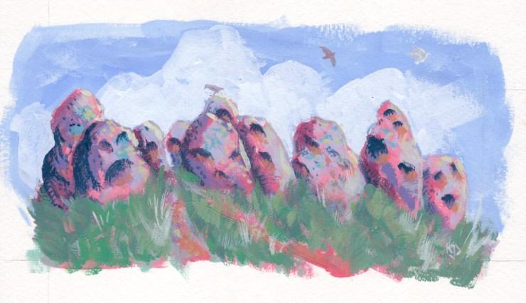 Picnic at Hanging Rock painting by Kathleen Jennings