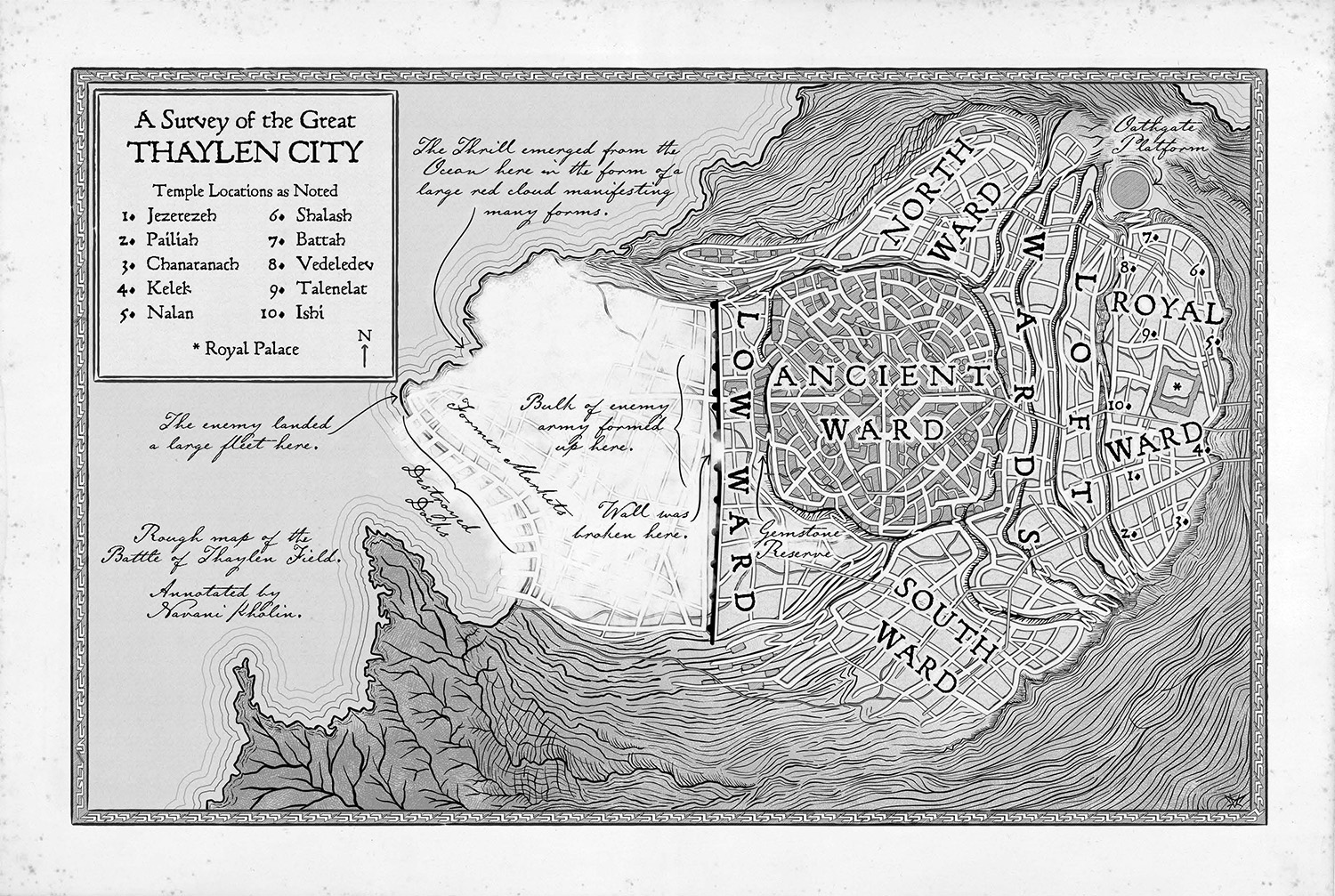 Interior artwork from Oathbringer; map of Thaylen City