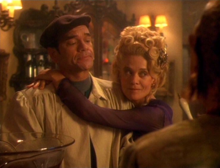 The EMH (Robert Picardo) and Sandrine (Judy Geeson) in Star Trek: Voyager