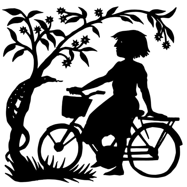 silhouette cutout of a girl on a bicycle beside a tree with a lizard on its trunk