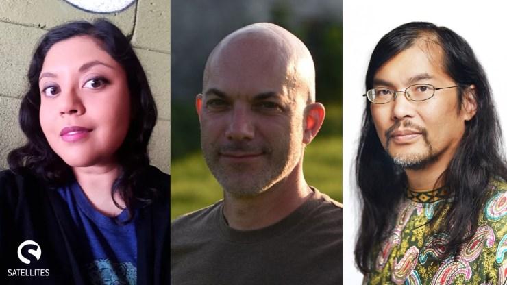 Satellites novella program, author headshots of Premee Mohamed, Derek Künsken, and Wayne Santos