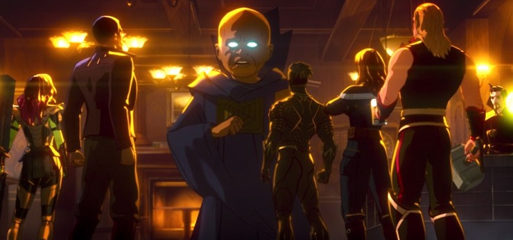 What If...? season one finale, guardians of the multiverse listening to Watcher in pub