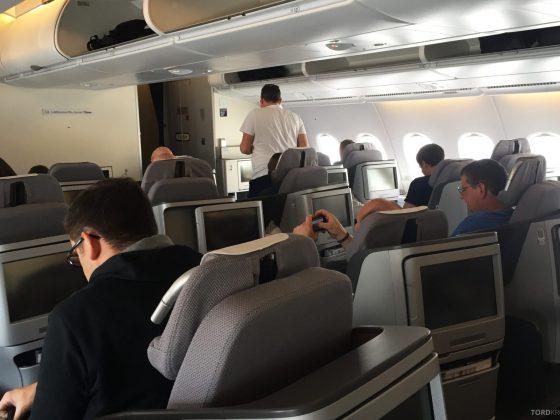 Lufthansa A380 Business Class Houston Frankfurt kabin