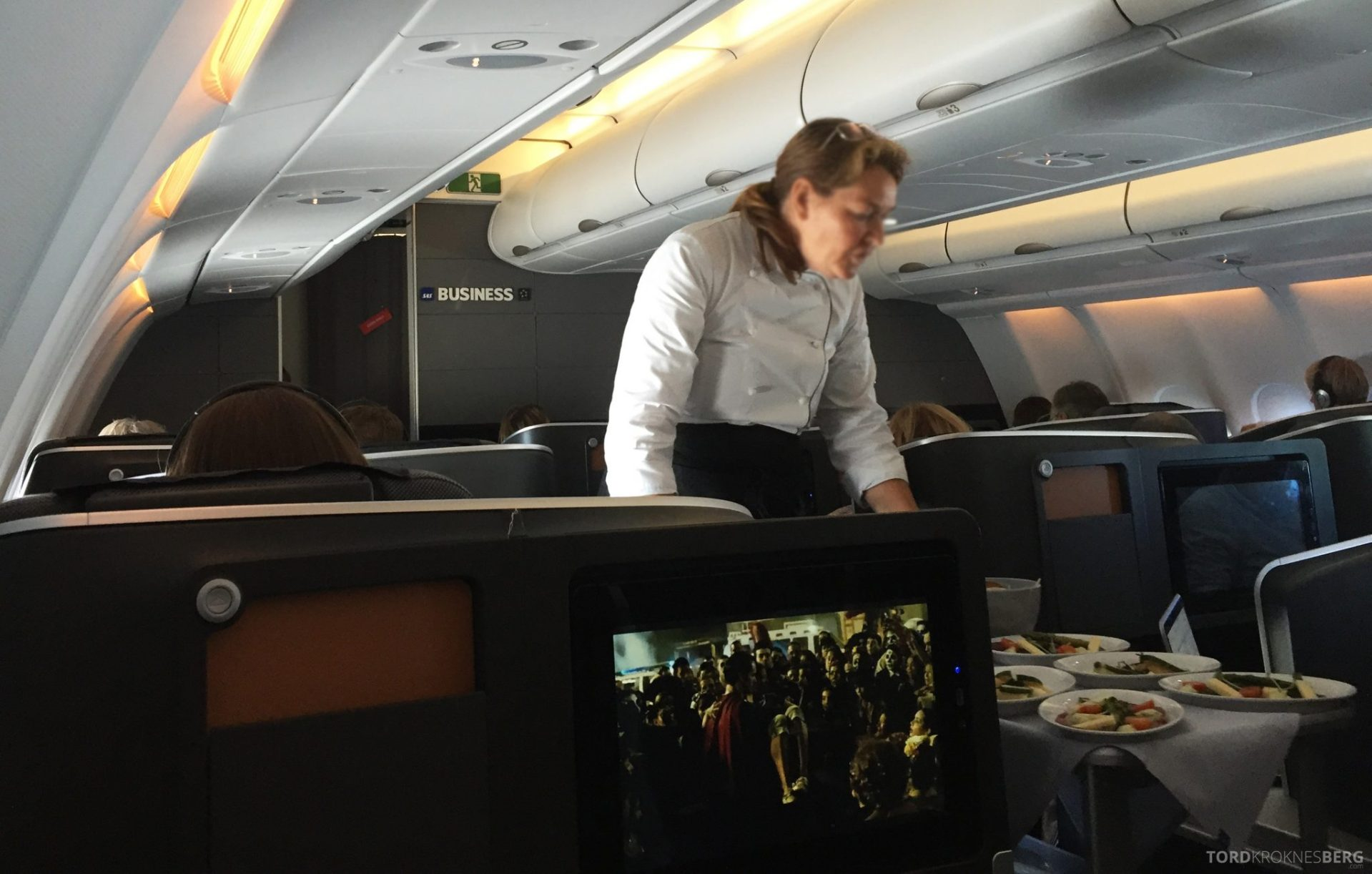 SAS Business Class fra Stockholm til Los Angeles servering forrett