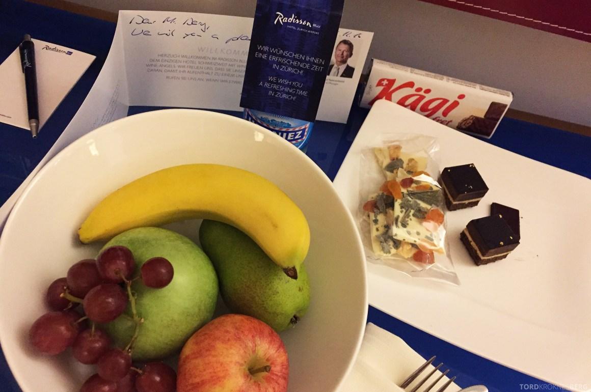 Radisson Blu Zurich Airport Hotel velkomstgave