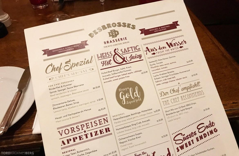 Brasserie Desbrosses Ritz-Carlton Berlin meny