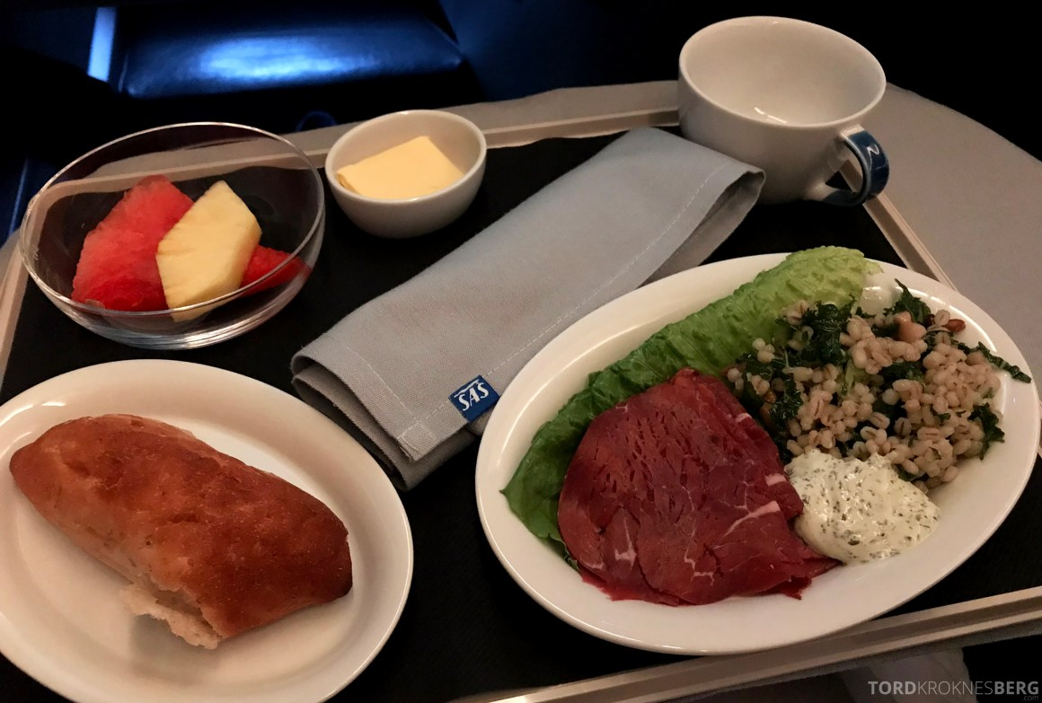 SAS Business Class Stockholm Chicago lunch