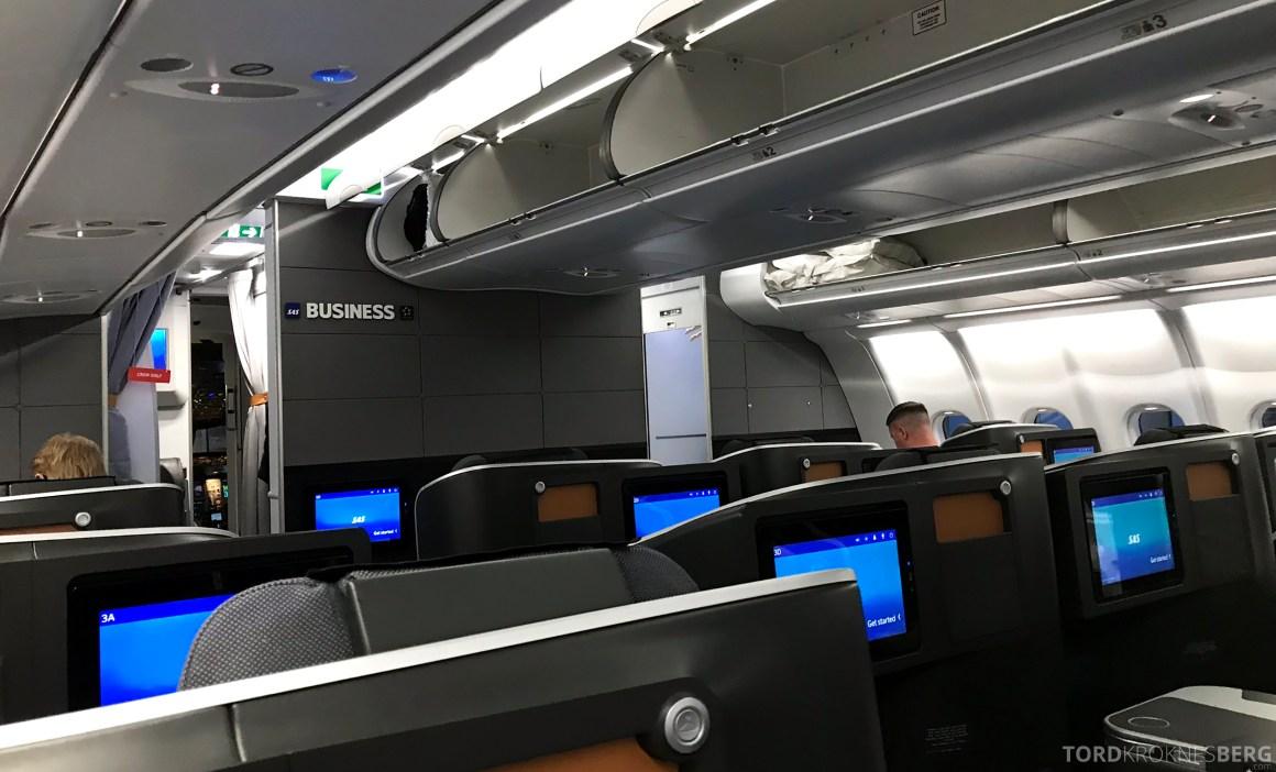 SAS Business Class Stockholm Chicago kabin