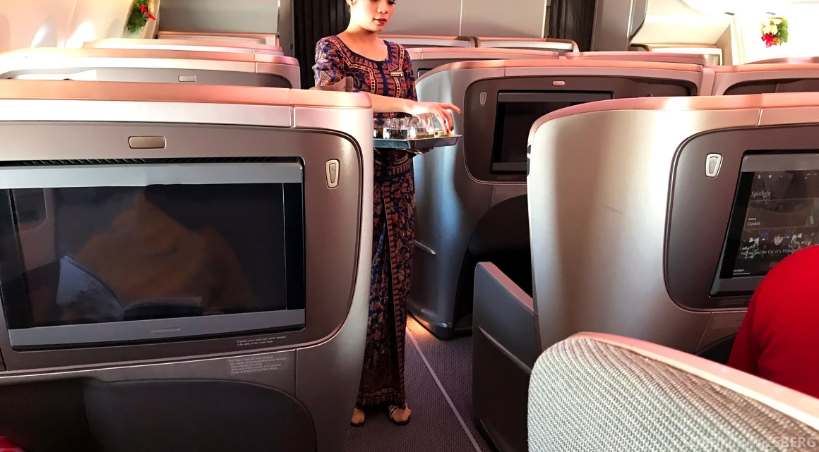 Singapore Airlines Business Class Amsterdam Singapore servering