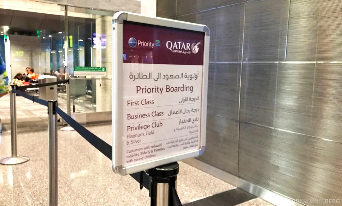 Qatar Airways Business Class Doha Penang priority boarding