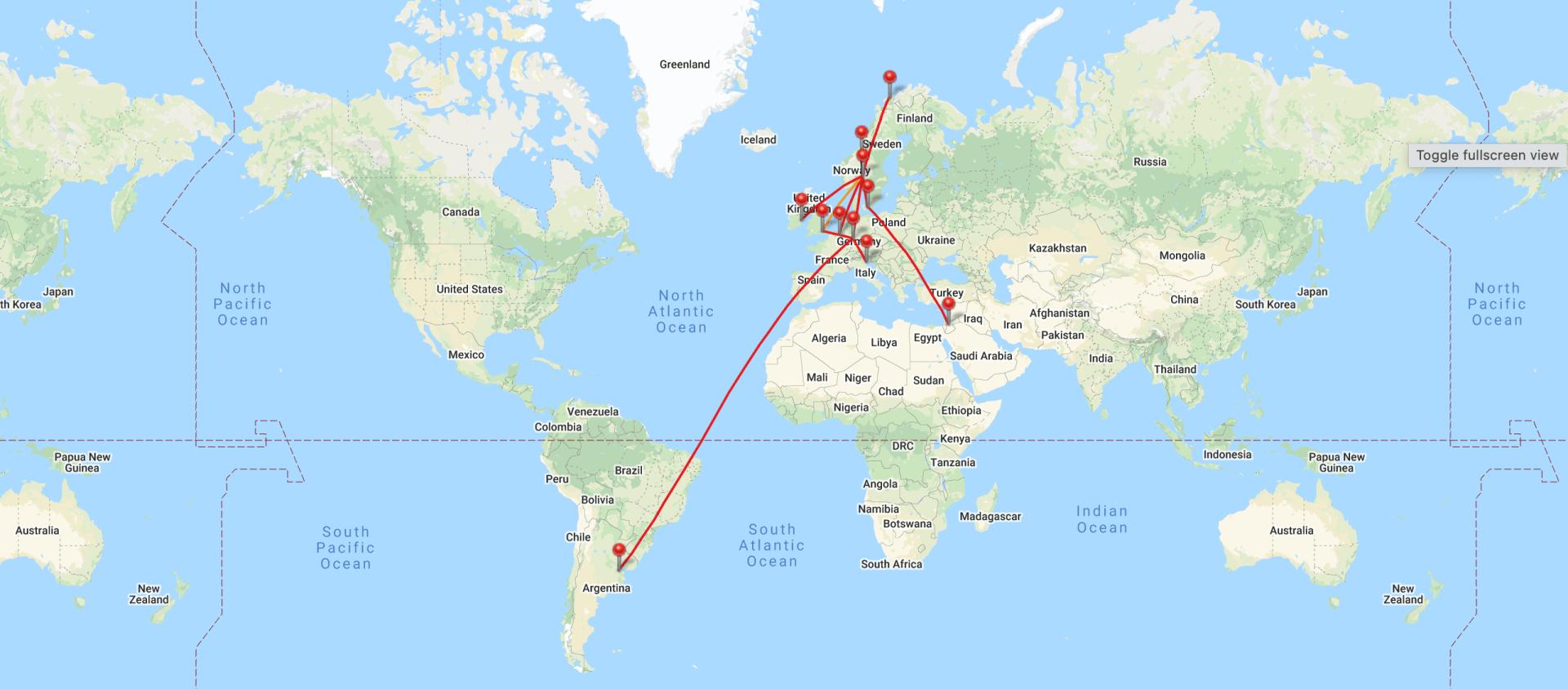 Reiseåret 2020 kart