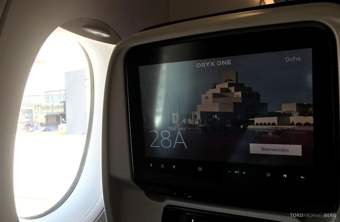 Qatar Airways Economy Class Oslo Doha skjerm