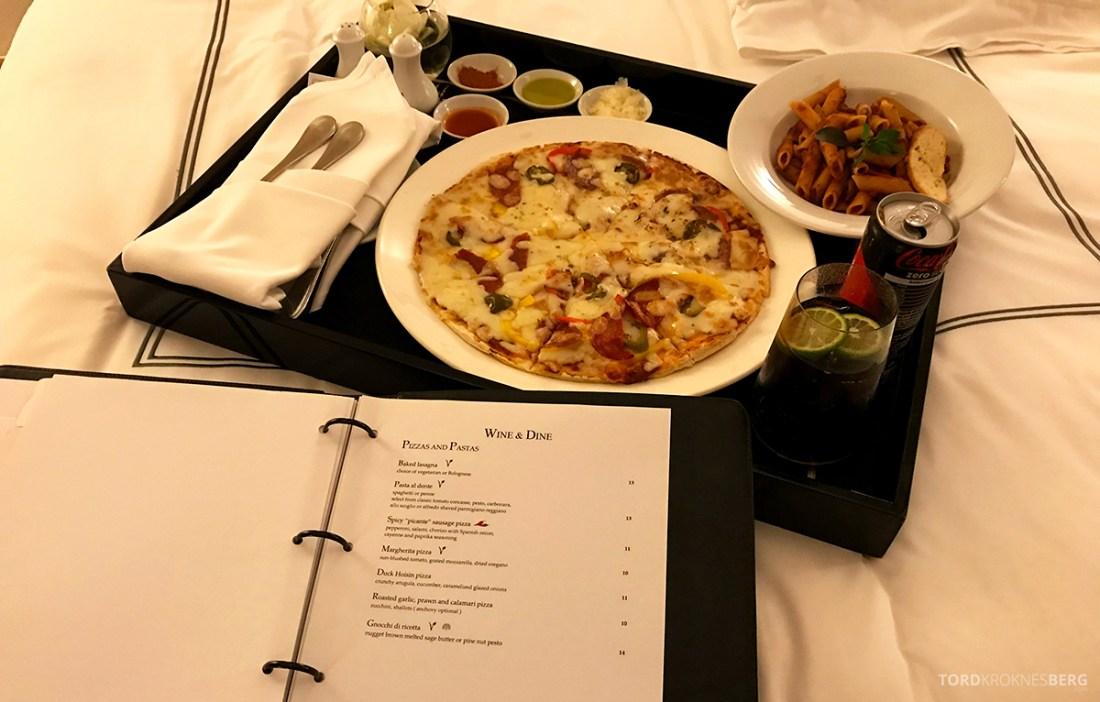 Raffles Hotel Le Royal Phnom Penh room service pizza