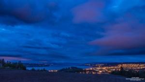 Utsikt fra Øverby, Gjøvik om natten