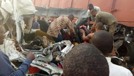 ore Many Killed As Truck Crushed Commercial Bus Along Lagos-benin Highway (pics)