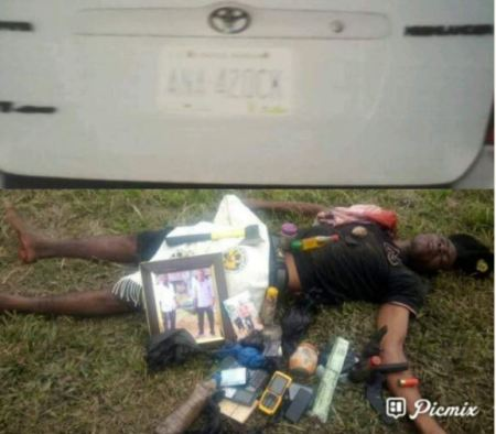 %name A kidnapper was killed by a police, in gun battle in Cross River State.