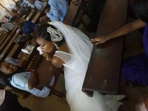 exam wed3 Check Out The Photos Of A Nigerian That Bride Storms University in Her Wedding Dress to Write Exams