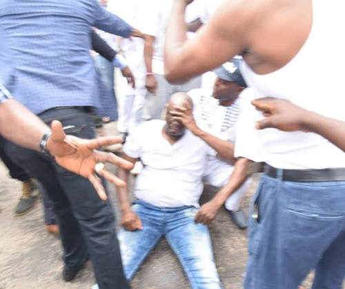 fayose sprayed tear gas 2 - Gov. Ayodele Fayose Narrowly Escape Death After Security Operatives Fired Teargas At Him