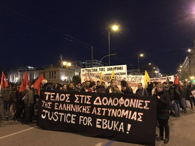 Image result for Massive protest as Greek police beat Nigerian dad to death