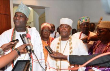 Photos Of President Buhari Meeting Yoruba Monarchs Inside Aso Rock