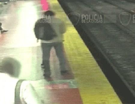 The man fell onto a train track