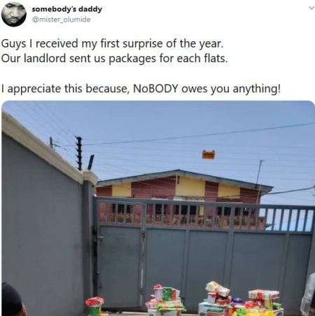Nigerian Tailor Shows Off The Package His Landlord Sent To Every Tenant For Free As Coronavirus Relief