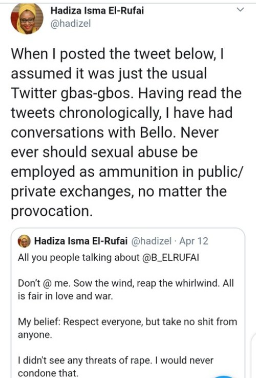 Nasir El rufai's Wife Apologies, Blasts Son For Threatening To Rape Someone's Mother