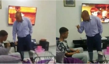 Man Caught On Camera Slapping His Son Who Failed Exams After Paying $21K School Fees Blasts Critics